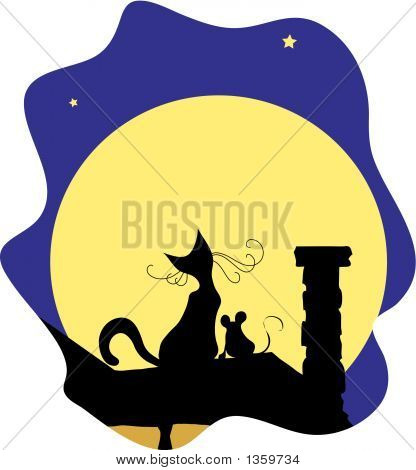 cat and mouse sitting on the roof looking at the moon poster