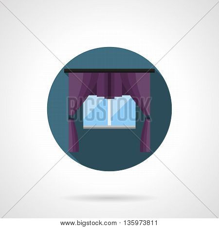 Glass window with luxury purple curtains. Textile elements of interior design treatment. Vintage style drapes, blinds, shade. Round flat color vector icon.