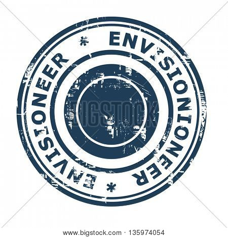 Envisionioneer business concept rubber stamp isolated on a white background.