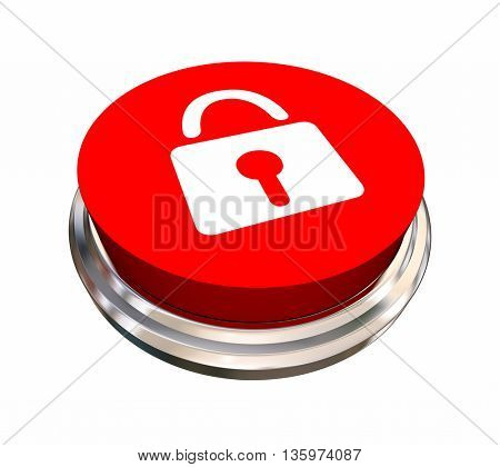 Lock Symbol Icon Safety Security Button 3d Illustration