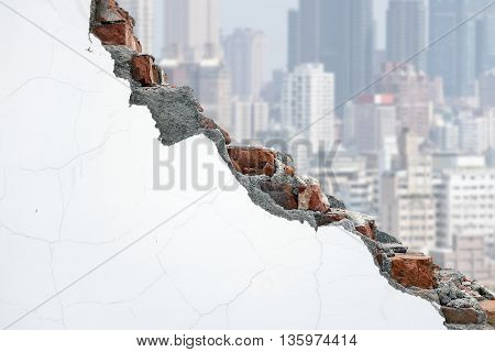Cracked White Bricks Wall With Crowded City Building
