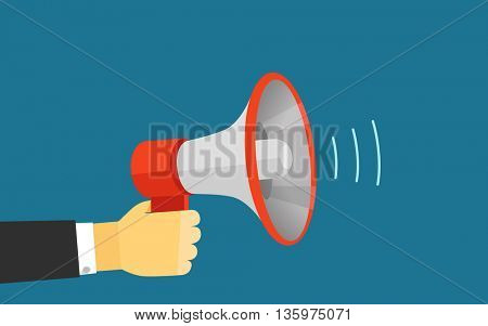 Loud voice of the speaker vector illustration. Template for a content
