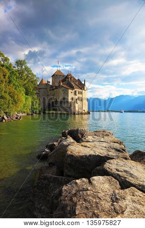 Lake Leman in fine weather. The beginning of autumn in Montreux, Switzerland