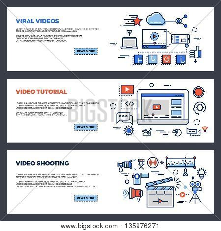 Video and digital marketing web banners set. Template set of banner for video marketing business. Promotion viral video. vector illustration