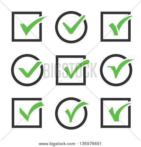 Check mark icon boxes vector set. Sign of confirmed check mark and positive check mark illustration