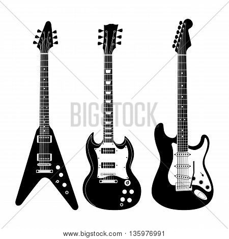 Black and white electric guitar set on white background. Isolated stylish art. Modern grunge and rock style. Noir style.