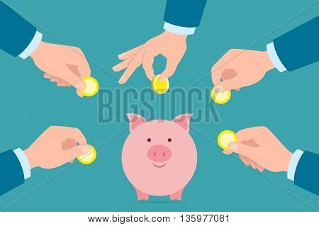 Putting golden coins in piggy bank. Investment, payment, savings earnings. Pink piggy bank.