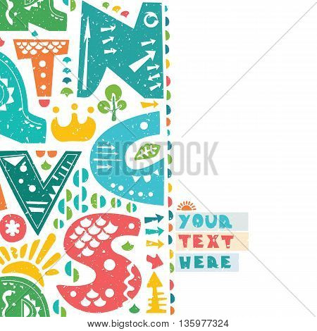 Letter print design. Colorful letters on paper background. Paper with torn edges. Place for your text