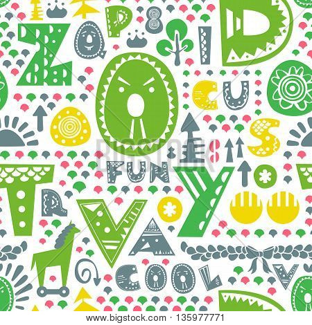Cute colorful alphabet seamless pattern. Vector illustration