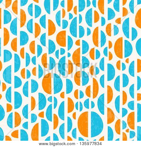 Retro seamless repeating pattern with decorative shapes. Colorful vector background