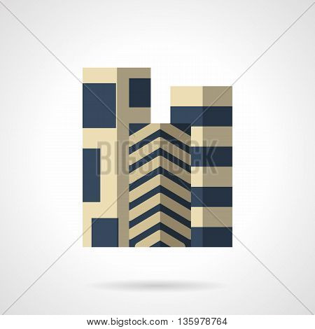 Three rolls of floor carpets with different blue color pattern. Floor covering, linoleum, decorative and construction materials for quality renovation works. Flat color style vector icon.