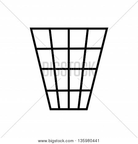 Sign trash bin. Flat busket symbol. Concept dispose trash. Modern art scoreboard. Monochrome graphic image. Plane refuse mark isolated on white background. Recycle figure. Stock vector illustration