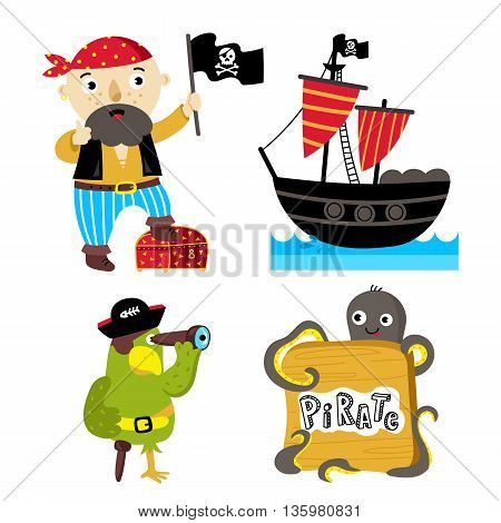 Cartoon pirate character with Jolly Roger flag. Pirate ship isolated on white background. Parrot with pirate hat. Pirate cartoon elements for birthday or pirate party. Funny pirate set. Funny octopus. Pirate cartoon concept and pirate cute symbols.