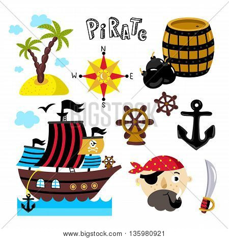 Pirate design element for birthday or pirate party isolated on white background. Vector pirate icon set. Pirate flag with pirate ship. Cartoon pirate face, sabre, barrel gunpowder, steering wheel icon. Pirate cartoon concept and pirate cute symbols.