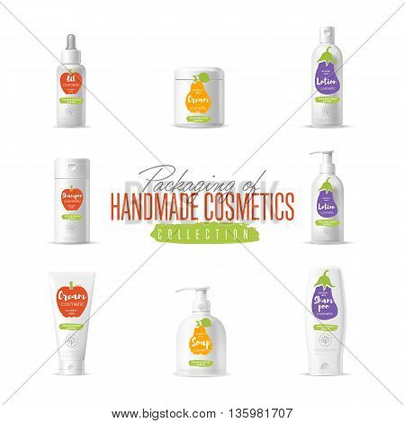 Handmade cosmetic brand vector packaging template, body care product. Oil, lotion or soap, shampoo, cream. Realistic bottle mock up set isolated on white background. Cosmetic products concept. Ready design cosmetics. Cosmetic cream.