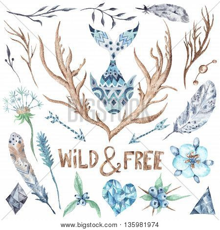Collection of hand-painted boho wild and free style objects - feathers, horns, plants isolated on white background