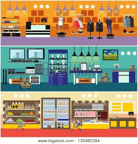 Shopping in a mall concept vector banner. Consumer electronics store Interior. Products in food supermarket.