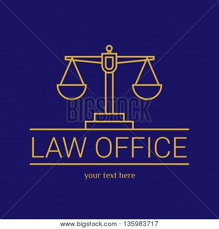 Law office logo. The judge, Law firm logo template, lawyer set of vintage labels. Line scales Themis. Dura lex, sed lex quote. On blue background