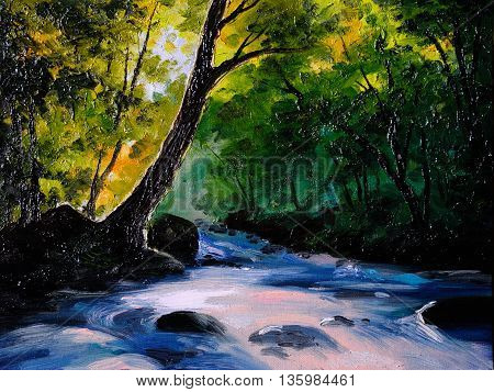 Painting picture oil painting on a canvas. Landscape mountain river abstract drawing watercolor painting wallpaper