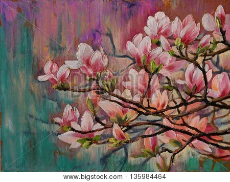 oil painting - sakura branch on abstract background art drawing blossom Japanese cherry tree wallpaper; decoration