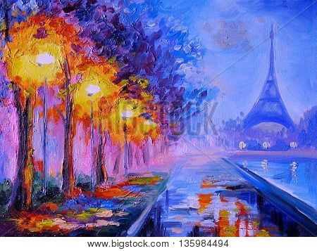 Oil painting of eiffel tower france, architecture