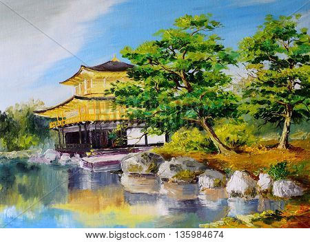 oil painting - Japanese garden lake near the Japanese home abstract drawing executed in style of impressionism tree decoration