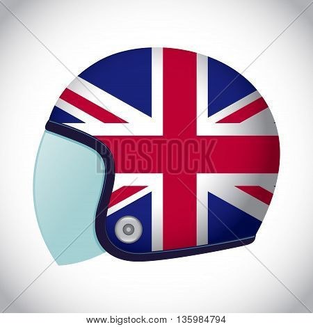 Vector stock of retro classic motorcycle helmet with United Kingdom flag