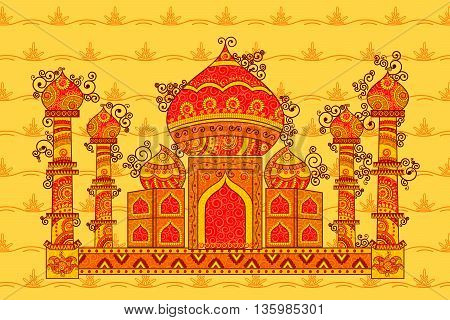 Vector design of Taj Mahal in Indian art style