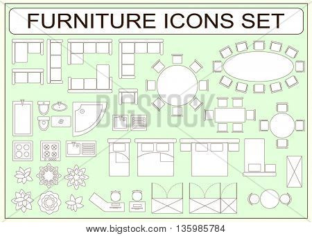 Set of simple furniture vector icons as design elements - sofa, table, computer desk, sink, bathtub, toilet, stove, wardrobe, bed, chair, washing machine, plants, armchair