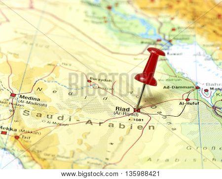 Map with pin set on Rabat, Saudi Arabia.