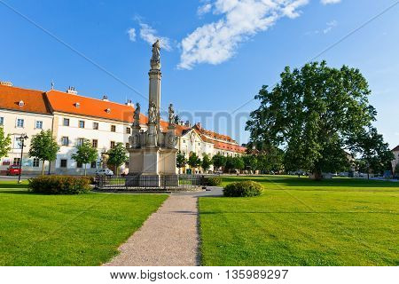 VALTICE, CZECH REPUBLIC - JUNE 22, 2016: Main square in Valtice town in Moravia, Czech Republic on June 22, 2016.