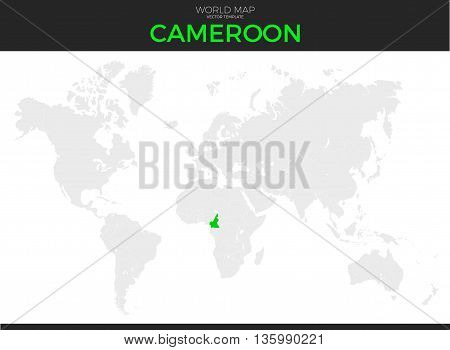 Republic of Cameroon location modern detailed vector map. All world countries without names. Vector template of beautiful flat grayscale map design with selected country and border location