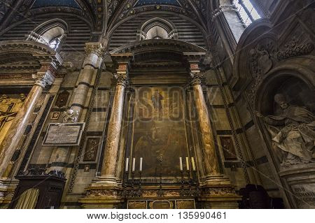 Interiors And Details Of Siena Cathedral, Siena, Italy