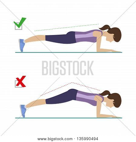 Set of right and wrong elbow plank position. Physical training for losing weight reduction in fat mass. Vector.