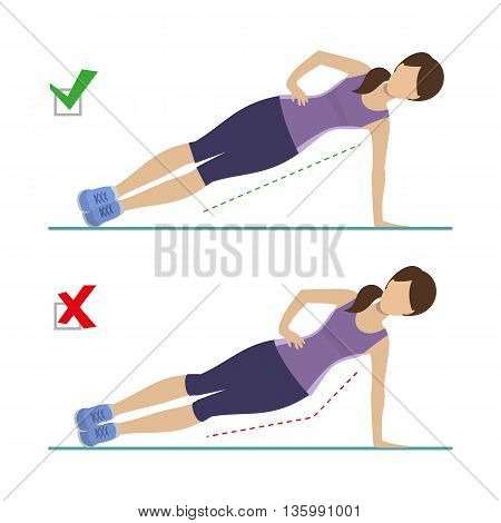 Set of right and wrong side plank position. Physical training for losing weight reduction in fat mass. Vector.