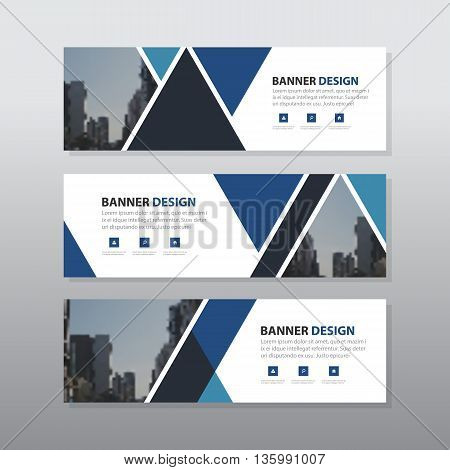 Blue triangle abstract corporate business banner template horizontal advertising business banner layout template flat design set clean geometric abstract cover header background template for website design