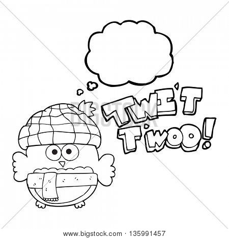 freehand drawn thought bubble cartoon cute owl saying twit twoo