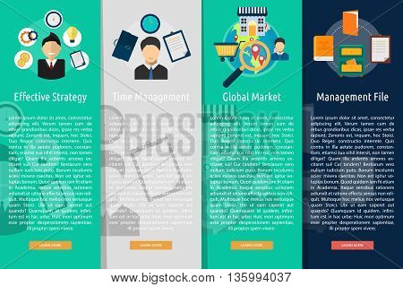 Marketing and Management Vertical Banner Concept | Set of great vertical banner flat design illustration concepts for marketing, management, concept, business, and much more.
