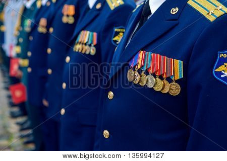 Saint-Petersburg, Russia - June 25 : to graduation military medics, military physicians with medals, the Lieutenant Colonel in a blue uniform the feast day of the graduates in Peter and Paul fortress on June 25, 2016