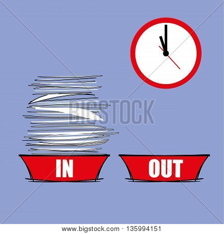 IN tray full of paperwork next to an empty OUT tray with a modern clock in the background as a metaphor for workload pressure poster