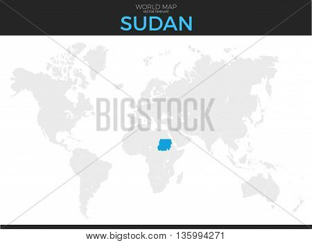 Republic of the Sudan location modern detailed vector map. All world countries without names. Vector template of beautiful flat grayscale map design with selected country and border location
