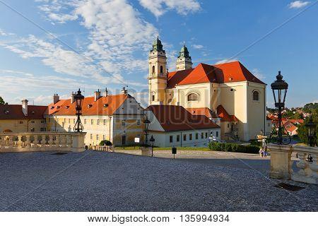 Church in town of Valtice in Moravia, Czech Republic.