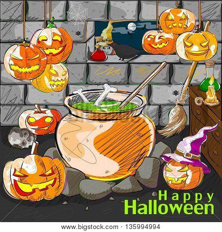 Vector design of Halloween greeting background with Jack-o-lantern pumpkin