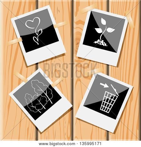 4 images: flower, sprout, recycling bin, trees. Nature set. Photo frames on wooden desk. Vector icons.