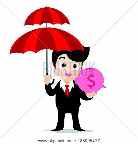 Business protection concept business man cartoon smile holding umbrella and pig piggy bank in hand with vector illustration eps10 isolated on white background
