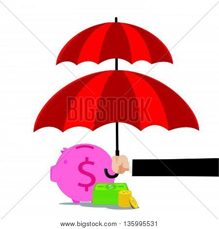 Hand of business man holding the red umbrella to protect piggy bank and money vector illustration eps10