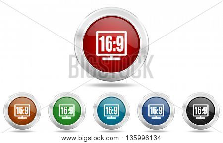 16 9 display round glossy icon set, colored circle metallic design internet buttons