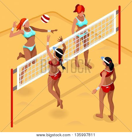 Olympics Beach Volley Player Sports Icon Set.3D Isometric Beach Volleyball.Sporting Championship International Beach Volley Competition.Olympics Sport Infographic Volley Vector Illustration