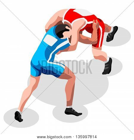 Olympics Wrestling Freestyle Fight Summer Games Icon Set.3D Isometric Fighting Athletes.Olympics Sporting Championship International Wrestling Competition.Sport Infographic Freestyle Wrestling Vector Illustration