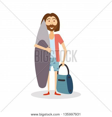 Surfer ready to travel. Hipster Man goes on vacation with surfboard. Surfer cartoon isolated, vector eps 10 format.